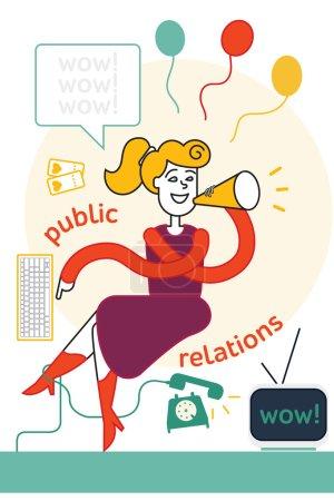 Illustration pour Relations publiques. fille organiser le travail au bureau. illustration vectorielle colorée. illustration vectorielle plate - image libre de droit