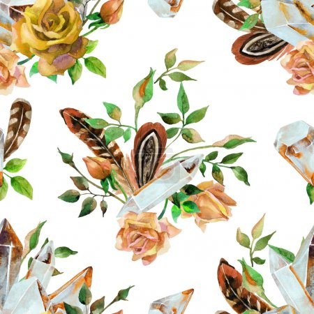 Watercolor gems, feathers and flowers seamless pattern