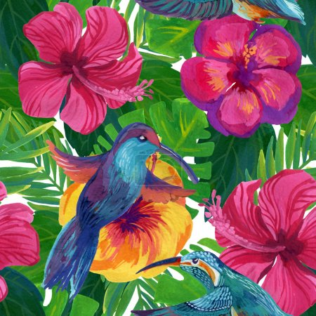 Photo for Hand painted humming-birds with hibiscus flowers, watercolor seamless pattern - Royalty Free Image