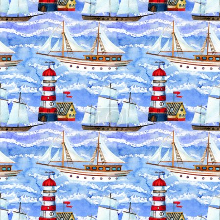 Watercolor sailing ships and lighthouse seamless pattern