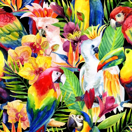 Photo for Watercolor parrots with tropical flowers seamless pattern. Exotic background. Hand painted illustration of different species of parrots in vivid colors - Royalty Free Image