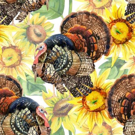 Photo pour Oiseau de Turquie avec illustration de tournesols. Dindon aquarelle motif sans couture sur le fond blanc - image libre de droit