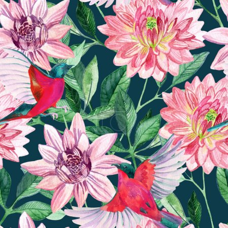 Watercolor asters and birds seamless pattern
