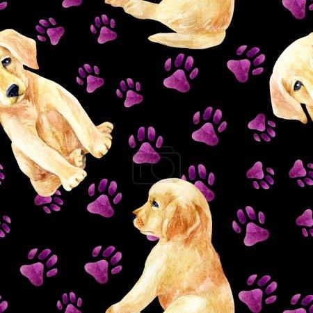 Labrador retriever puppy seamless pattern