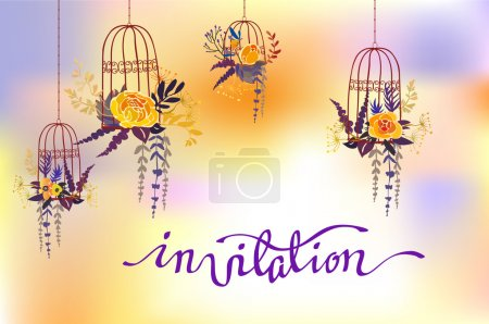 Illustration for Calligraphy invitation with floral bouquet. Orange yellow flowers, branches and leaves on blue purple watercolor style background. For wedding invitation, party, birthday celebration or reception. - Royalty Free Image