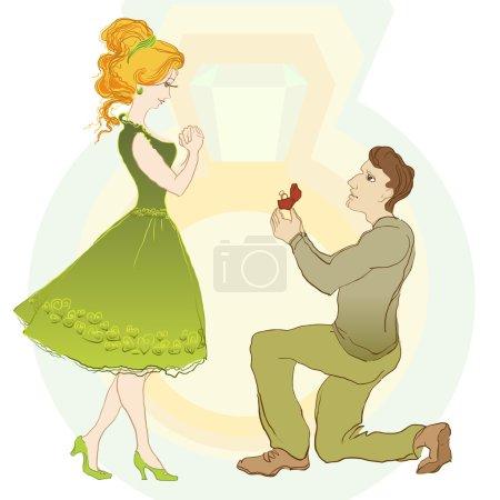 Illustration pour Demande en mariage, l'homme donne une bague à sa fille jeune couple heureux. Illustration vectorielle - image libre de droit