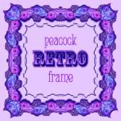 Fialový rám s malovanými paví peří a retro label