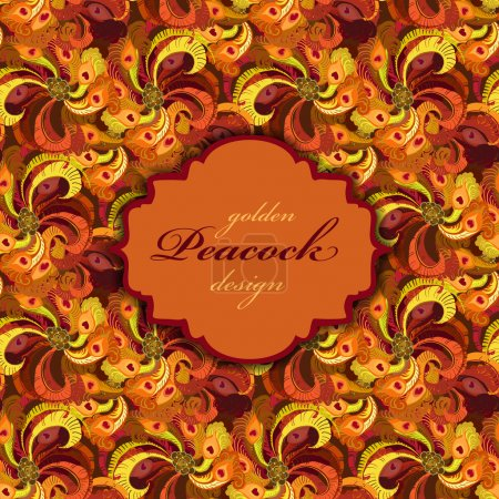 Illustration for Golden orange and red peacock feathers pattern.   background. Vintage label. Text place. Vector illustration - Royalty Free Image