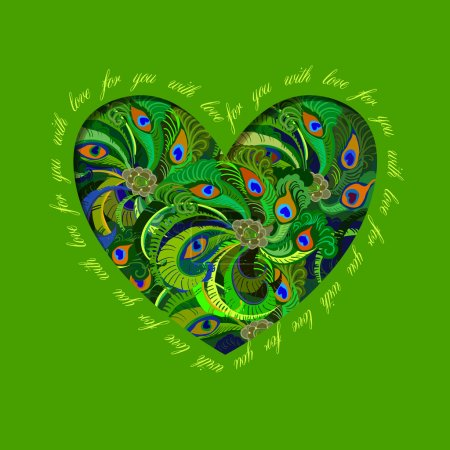 Illustration for Hand drawn green heart design with peacock feathers and text - for you with love.  Love card. Vector illustration - Royalty Free Image