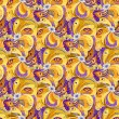 Orange peacock feathers seamless pattern backgroun...
