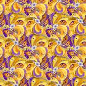 Orange peacock feathers seamless pattern background