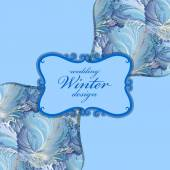 Blue centre label design Winter frozen glass background Text place