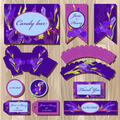 Printable wedding backgrounds set with iris flowers Candy bar design