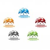 Three House & Three Mountain Logo Template