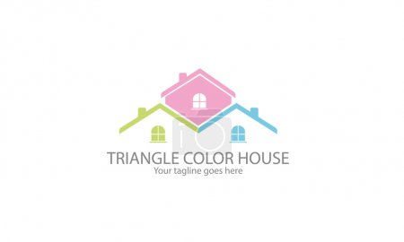 Illustration for Triangle Color House Logo, House Icon - Royalty Free Image