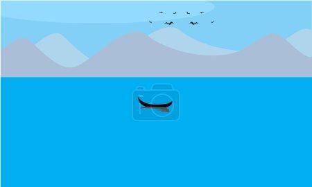 Illustration pour Un voilier dans un lac avec des montagnes et des oiseaux volent. Vecteur illustré, couleur plate et unie - image libre de droit