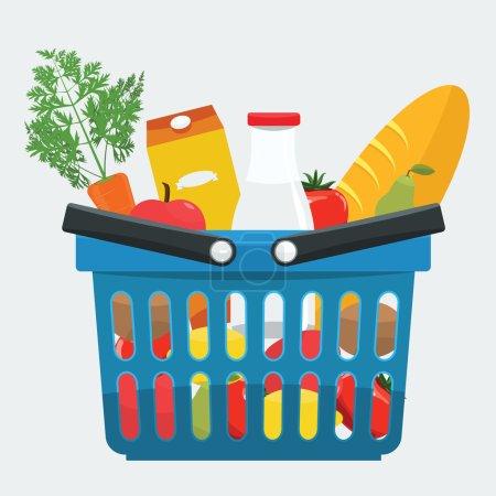 Illustration pour Panier de supermarché plein de produits frais, pain, légumes. Panier alimentaire avec des aliments naturels et biologiques avec un style de couleur plate - image libre de droit