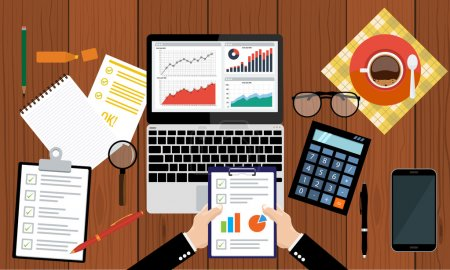 Illustration for Businessman holding paper sheet in hands, paperwork, consultant, financial audit, financial research report, auditing tax process, data analysis, seo analytics, market stats calculate in vector - Royalty Free Image