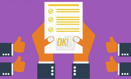 Illustration for Businesman or students hand showing paper or exam test results with checkmark and success. Everyone likes him. Vector Illustration. Isolated on ping background. - Royalty Free Image