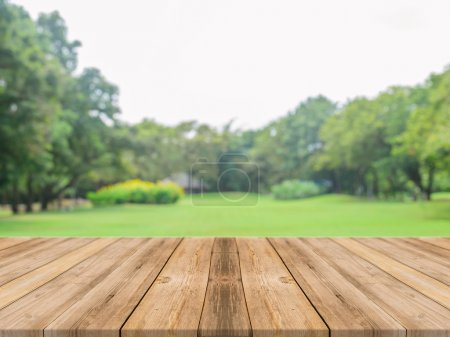 Wooden board empty table in front of blurred background. Perspective grey wood over blur trees in forest - can be used for display or montage your products. spring season. vintage filtered image.