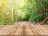Wooden board empty table in front of blurred background. Perspective brown wood over blur trees in forest - can be used for display or montage your products. vintage filtered image.