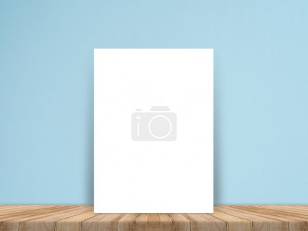 Blank white paper poster on plank wooden floor and concrete wall, Template mock up for adding your content,leave side space for display of product