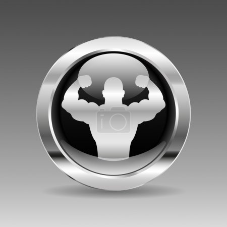 Black Glossy Chrome Button - Body Builder