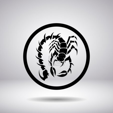 Illustration for Silhouette of a scorpion in a circle - Royalty Free Image
