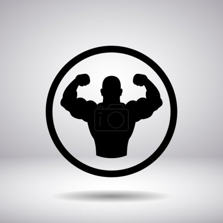 the body builder silhouette in a circle