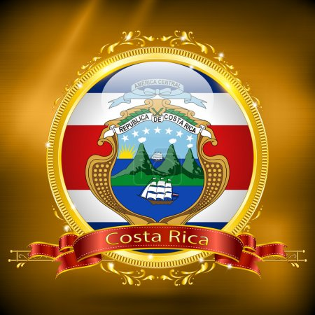 Flag of Costa Rica in GOLD