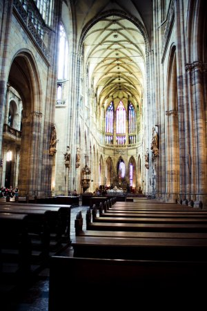 The interior of the Cathedral of St. Vitus. Prague, Czech Republic