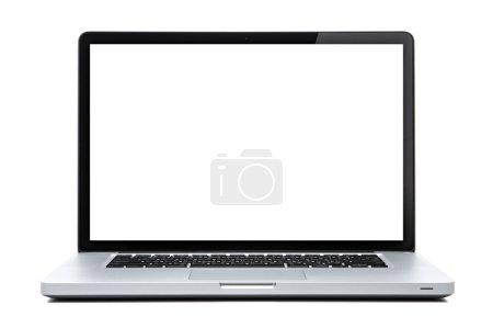 Photo pour Écran d'ordinateur portable blanc sur blanc isolé. réflexe lumière sur écran - image libre de droit