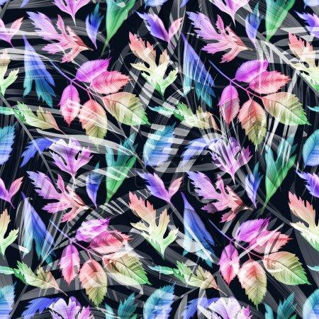 Photo pour Monstère tropicale et feuilles de palmier. motif floral de mode élégant sans couture, dans le style hawaïen - image libre de droit