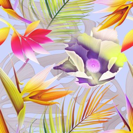 Seamless tropical flower pattern