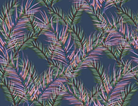 Tropical monstera and palm leaves pattern, in Hawaiian style