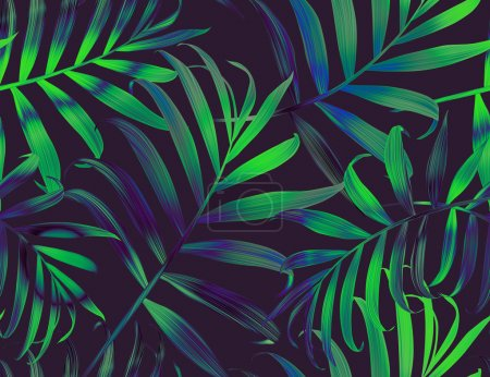 Photo for Seamless tropical flower, plant and leaf pattern background in Hawaiian style - Royalty Free Image