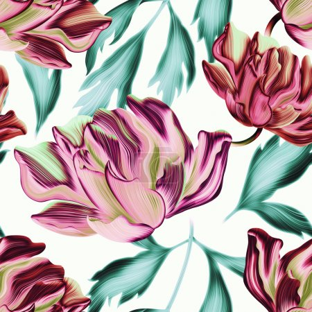 Seamless tropical flower background