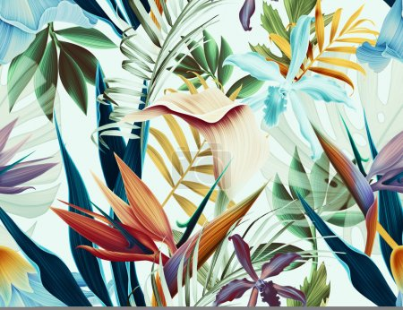 Photo for Seamless tropical flower, plant and leaf pattern background - Royalty Free Image