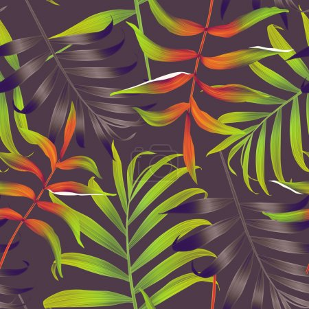 Photo pour Feuilles monstera et palmier tropicales. motif floral sans couture mode chic, dans un style hawaïen - image libre de droit