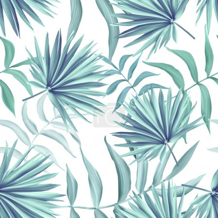Photo for Tropical monstera and palm leaves. seamless stylish fashion floral pattern, in Hawaiian style - Royalty Free Image