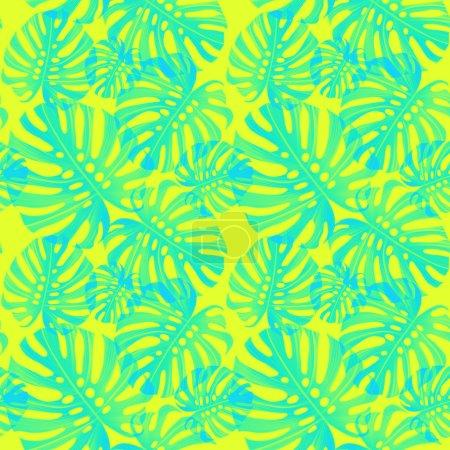 Photo pour Feuilles motif sans couture sur fond jaune - image libre de droit