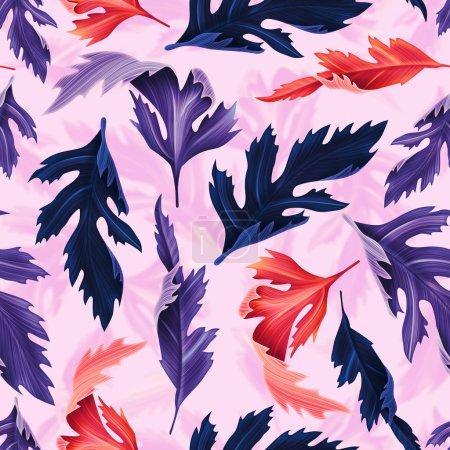 Photo pour Feuilles tropicales sans couture élégant motif floral de mode, dans le style hawaïen - image libre de droit