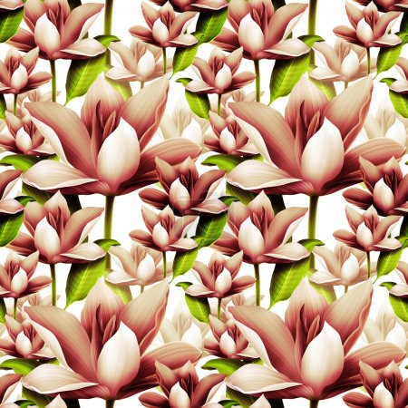 Seamless tropical flower background. Hawaiian style