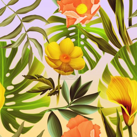 Seamless tropical flower background, in Hawaiian style