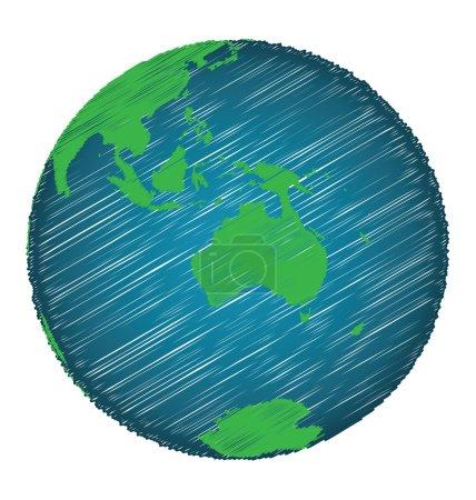 Croquis de la Terre Dessin à la main Focus Australie Continent