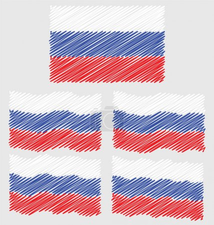 Flat and Waving Hand Draw Sketch Flag of Russia