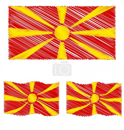 Flat and Waving Hand Draw Sketch Flag of Republic of Macedonia