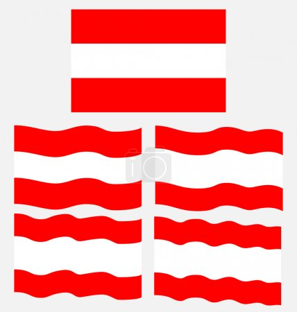 Flat and Waving Flag of Austria