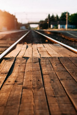 Train station with a wooden crossing