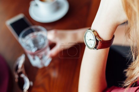 Woman's watch in closeup
